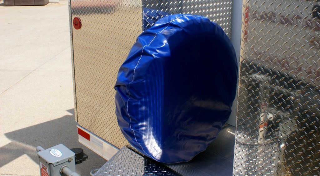 Mounted Spare Tire with Custom Cover