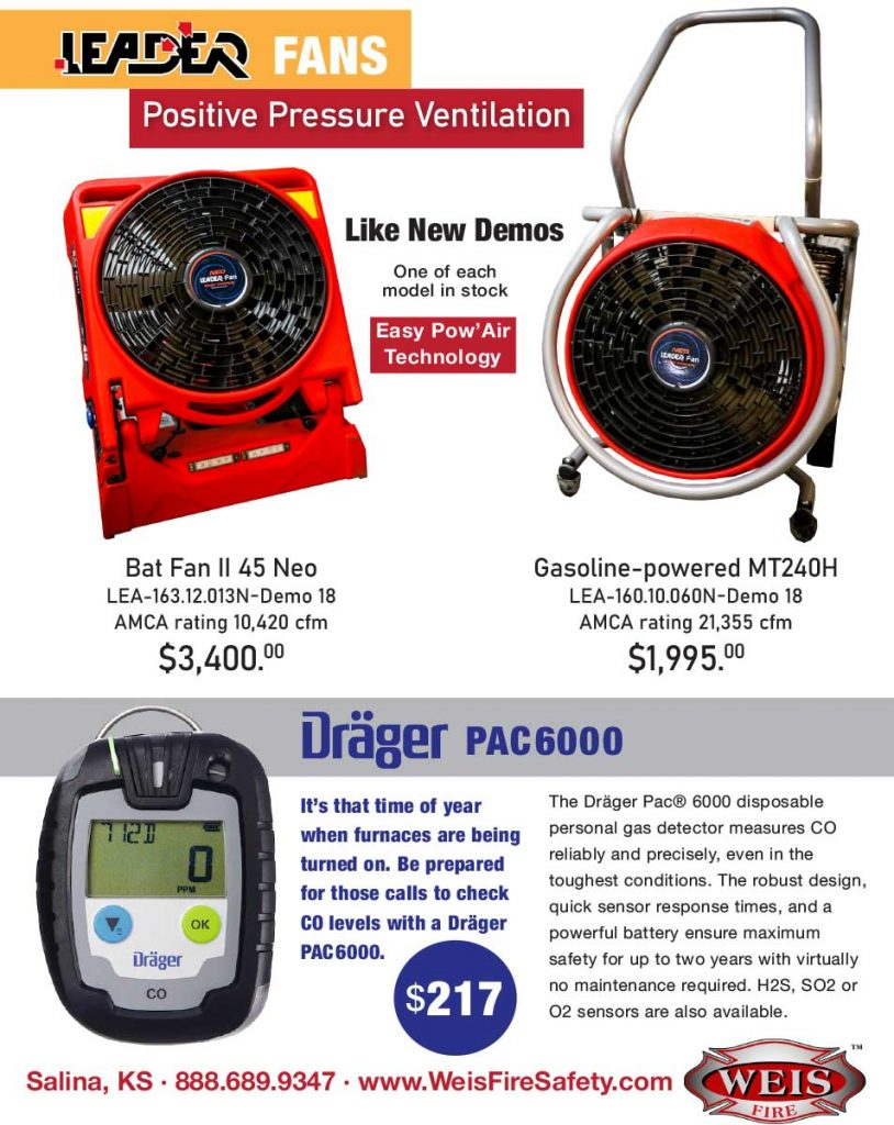 Leader Fans and Drager CO meters